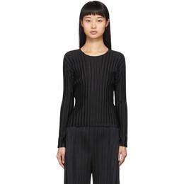 Pleats Please By Issey Miyake Black Pleated Crewneck Shirt 192941F09600201GB