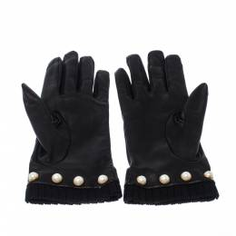 Gucci Black Leather Faux-Pearl Gloves