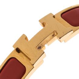 Hermes Clic H Orange Mandarine Enamel Gold Plated Narrow Bracelet PM 228077