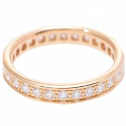 Cartier 18K Rose Gold Diamond Eternity Band Ring Size 48 227843