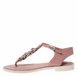 Chanel Light Pink Leather Chain Detail CC Thong Flat Sandals Size 37 228995