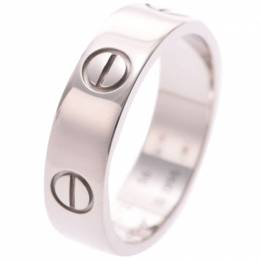 Cartier Love 18K White Gold Band Ring Size 56