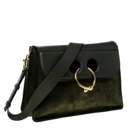 J.W. Anderson Dark Green Suede and Leather Pierce Shoulder Bag 227320