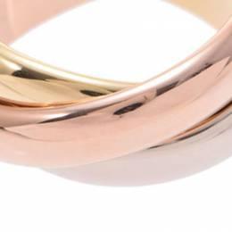 Cartier Trinity De Cartier Three Tone 18k Rose Gold Band Ring Size 51