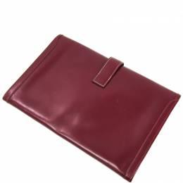 Hermes Rouge Box Calf Leather Jige PM Clutch Bag 228549