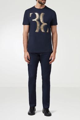 Темно-синяя футболка с золотым логотипом Billionaire 1668154842