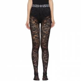 Versace Underwear Black Lace Empire Band Tights 192653F07600602GB