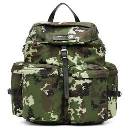 Miu Miu Green Camo Leather and Cordura Backpack 5BZ033 VOOO 2D4H