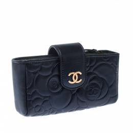 Chanel Navy Blue Camellia Embossed Leather iPhone Pouch 229191