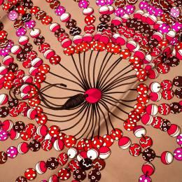 Hermes Multicolor Dancing Pearls Printed Silk Scarf 228342