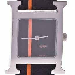 Hermes Black Stainless Steel and Leather Ramsis HH1.210 Women's Wristwatch 21x30MM 227963
