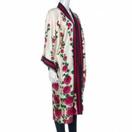 Gucci Cream & Pink Rose Garden Print Silk Belted Kimono M 229530
