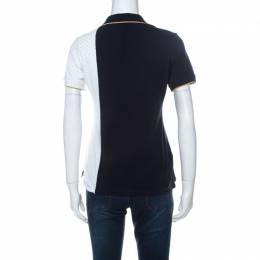 Carolina Herrera Navy Blue and White Polka Dot Colorblock Knit Polo T Shirt S Ch Carolina Herrera 229784