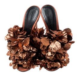 Marco De Vincenzo Metallic Bronze Silk Flower And Satin Open Toe Mules Size 36 209580