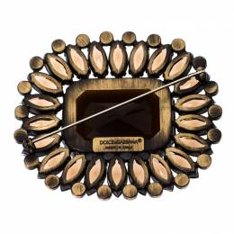 Dolce&Gabbana Brown Rectangle Crystal Pin Brooch