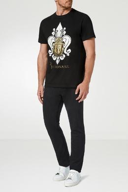Черная футболка с бело-золотым узором Billionaire 1668155413