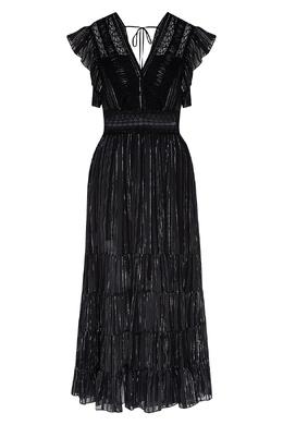 Черное платье с блестящими деталями Sandro 914155312