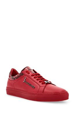 Красные кожаные сникерсы с декором Billionaire 1668155425