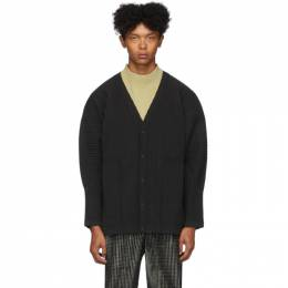 Homme Plisse Issey Miyake Grey Pleated Cotton Surface Cardigan 192729M20000402GB