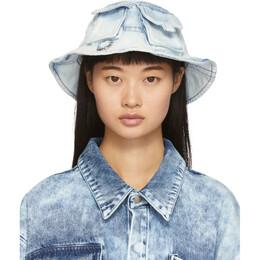 Marques Almeida Blue Denim Bucket Hat 192714F01500101GB