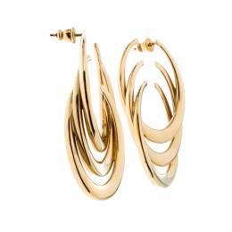 Dior C Motif Gold Tone Long Hoop Earrings