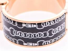 Hermes Charniere Printed Enamel Rose Gold Plated Wide Uni Bracelet 229999