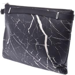 Balenciaga Black Leather Marble Phileas Clip M Clutch Bag
