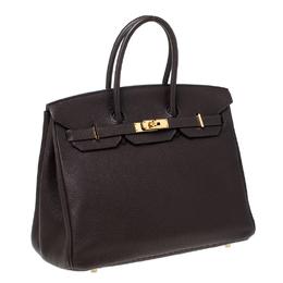 Hermes Cacao Togo Leather Gold Hardware Birkin 35 Bag 229790