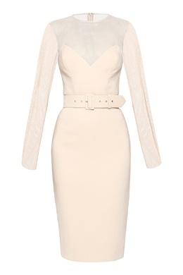 Белое платье с сетчатой вставкой Alexander Terekhov 74155675