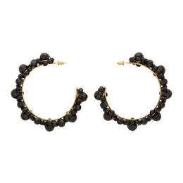 Simone Rocha Black Crystal Large Daisy Hoop Earrings 192405F02200701GB
