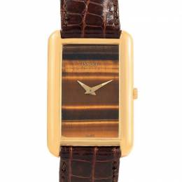 Piaget 18K Yellow Gold Tiger Eye and Leather Mechanical 9228 Women's Wristwatch 23 x 34MM 230527