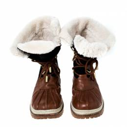 Tory Burch Brown Leather Shearling Lined High Top Boots Size 44 231553