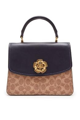 Мини-сумка из цветной кожи и фирменного канваса Parker Coach 2219155955