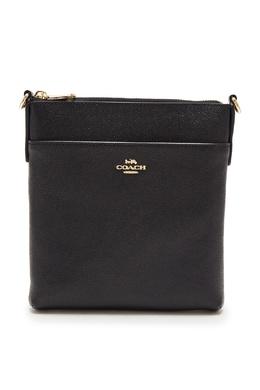 Черная кожаная сумка-мессенджер Coach 2219156051