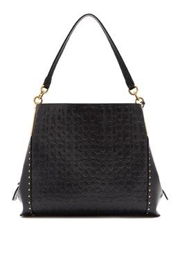 Черная сумка Dalton 31 из тисненой кожи Signature с заклепками Coach 2219155972