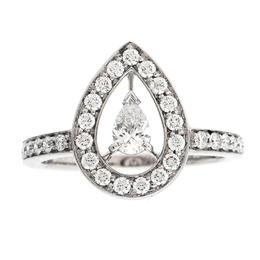 Boucheron Ava Pear Diamond 18k White Gold Ring Size 53 231785