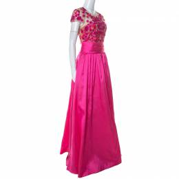 Marchesa Notte Pink Taffeta Embroidered Bodice Detail Mikado Gown L 230316