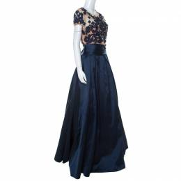 Marchesa Notte Midnight Blue Floral Embroidered Tulle Mikado Cap Sleeve Gown M 229543