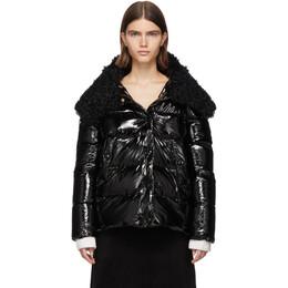 Yves Salomon Black Down and Wool Fur Jacket 20W20WYV08070KANY
