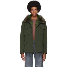Yves Salomon Green Down Gabardine Coat 20WUV00172GA7W