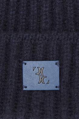 Темно-синяя шапка с кожаной нашивкой Billionaire 1668156234
