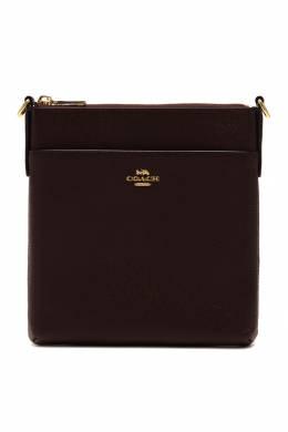 Бордовая кожаная сумка-мессенджер Coach 2219156554