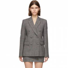 Helmut Lang Grey Wool Prince Of Wales Double-Breasted Blazer 192154F05700502GB