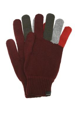 Бордовые перчатки с разноцветными вставками Paul Smith 1924156858
