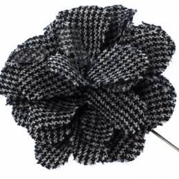 Lanvin Check Flower Wool Woven Silver Tone Stick Pin Brooch 233027