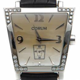 Corum White Mother Of Pearl Dial Trapeze Steel Diamond Watch 36MM