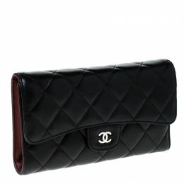 Chanel Black Quilted Leather Classic L Flap Wallet 230476