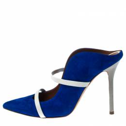 Malone Souliers Blue/Light Grey Suede and Leather Maureen Mules Size 38 233177