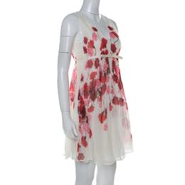 Giambattista Valli Off White Floral Printed Silk Lace Underlay Sleeveless Dress S 232632