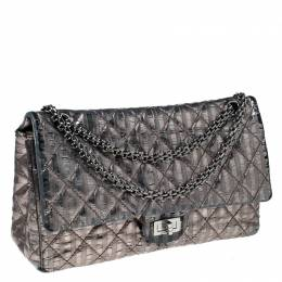 Chanel Silver Quilted Striped Leather Classic 2.55 Reissue 226 Double Flap Bag 228519